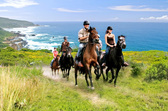 Guests on a horse ride in Knysna.