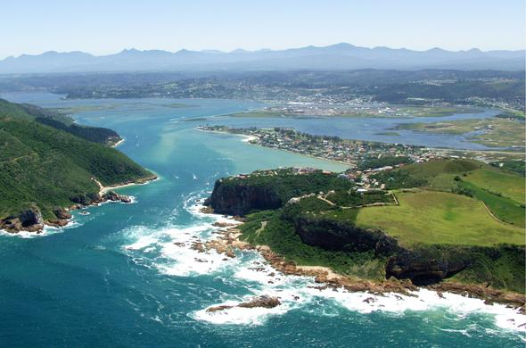 Aerial view of the Knysna Lagoon on the Garden Route.