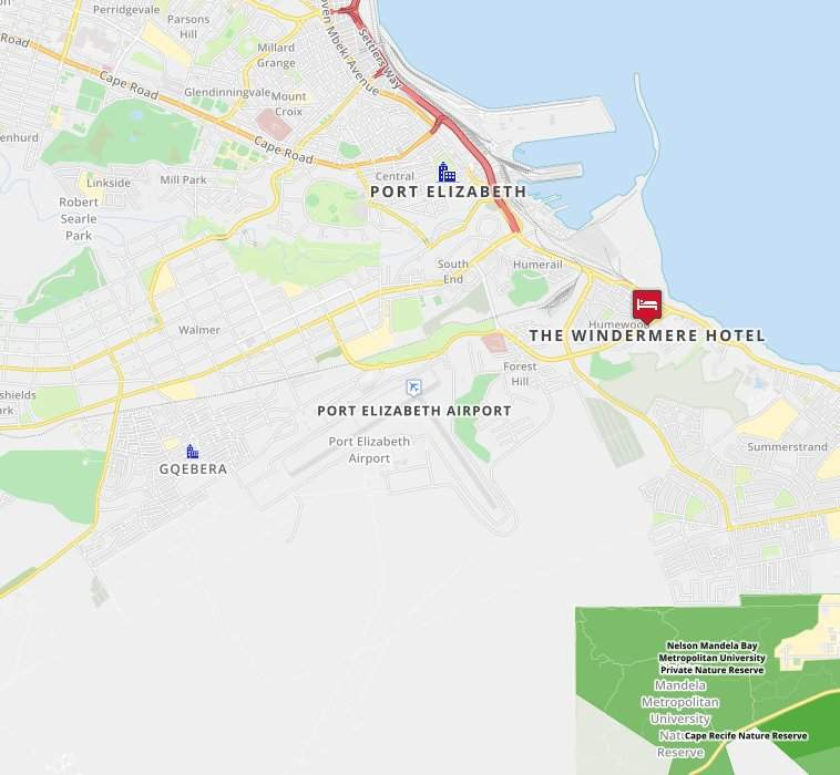 Map For Windermere By Mantis Port Elizabeth Garden Route