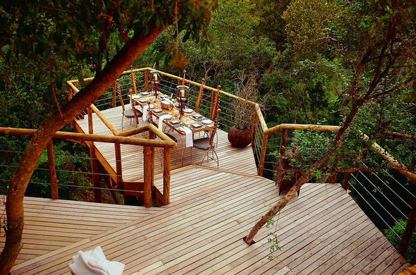 Enjoy private dinners at Tsala Treetop Lodge.
