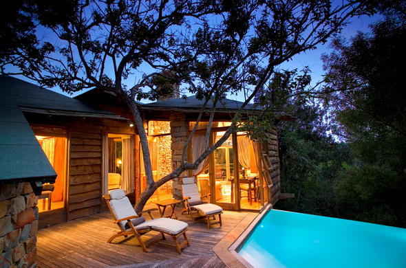 Enjoy the luxury at Tsala Treetop Lodge with a private pool.